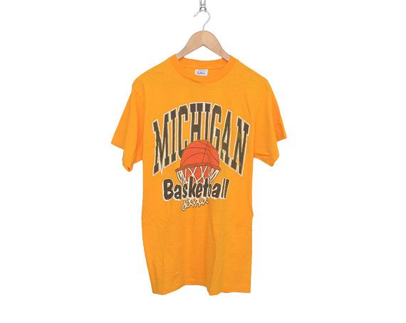 Vintage University of Michigan Basketball Swoosh Bright Gold 100% Cotton T-Shirt, Made in USA
