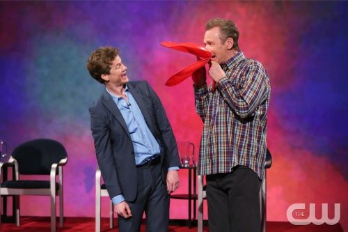 """Whose Line Is It Anyway?"" -- Kyle Richards  -- Image WL103A_0247 -- Pictured (L-R): Jonathan Mangum and Ryan Stiles -- Photo: Patrick Wymore /The CW -- © 2013 The CW Network, LLC. All Rights Reserved"