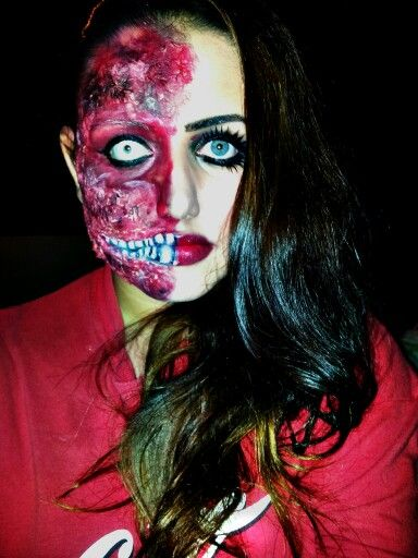 My Halloween makeup.  Two face/ zombie/ burns #halloween #Specialfx