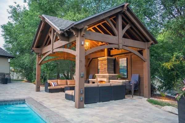 Gorgeous Outdoor Pavilion For High End Backyard Living Space Backyard Pavilion Outdoor Pavilion Outdoor Pavillion