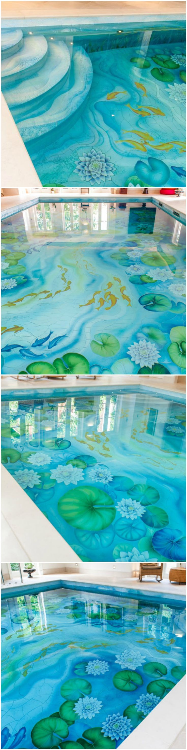 Ceramic mural: This striking indoor swimming pool design is a bold and artistic bespoke project in the sought-after area of Weybridge – and it really does take tile and pool design to the next level. Completed by Aqua Platinum Projects, along with Craig Bragdy Design, the design brief was to include an integrated slatted cover and bespoke handmade ceramic fish. (Photo: Aqua Platinum Projects)  #swimmingpool #pool #art #housegoals