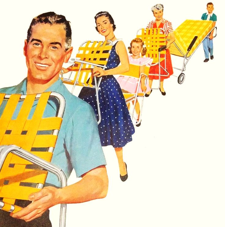 Lawn Chairs - detail from 1954 Alcoa Aluminum ad. - Roger Wilkerson, The Suburban Legend!