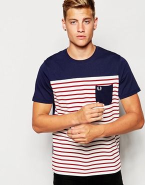 Fred Perry T-Shirt with Stripe and Solid Block