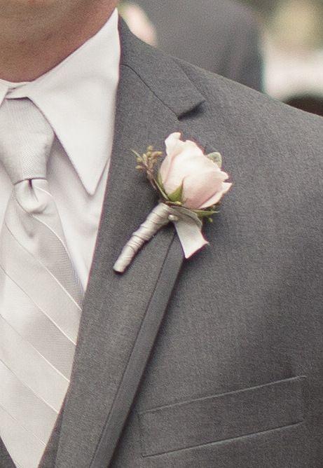 Blush pink spray roses with grey ribbon