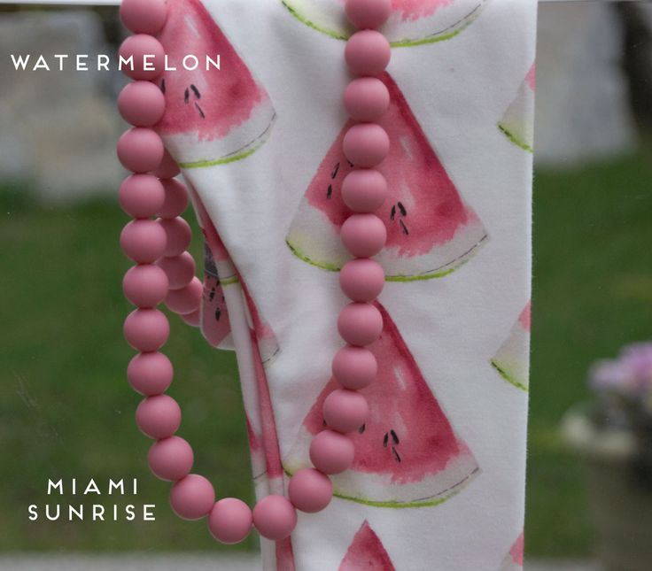 brikHOUSE Watermelon Leggings and Miami Sunrise teething necklace. Perfectly paired!