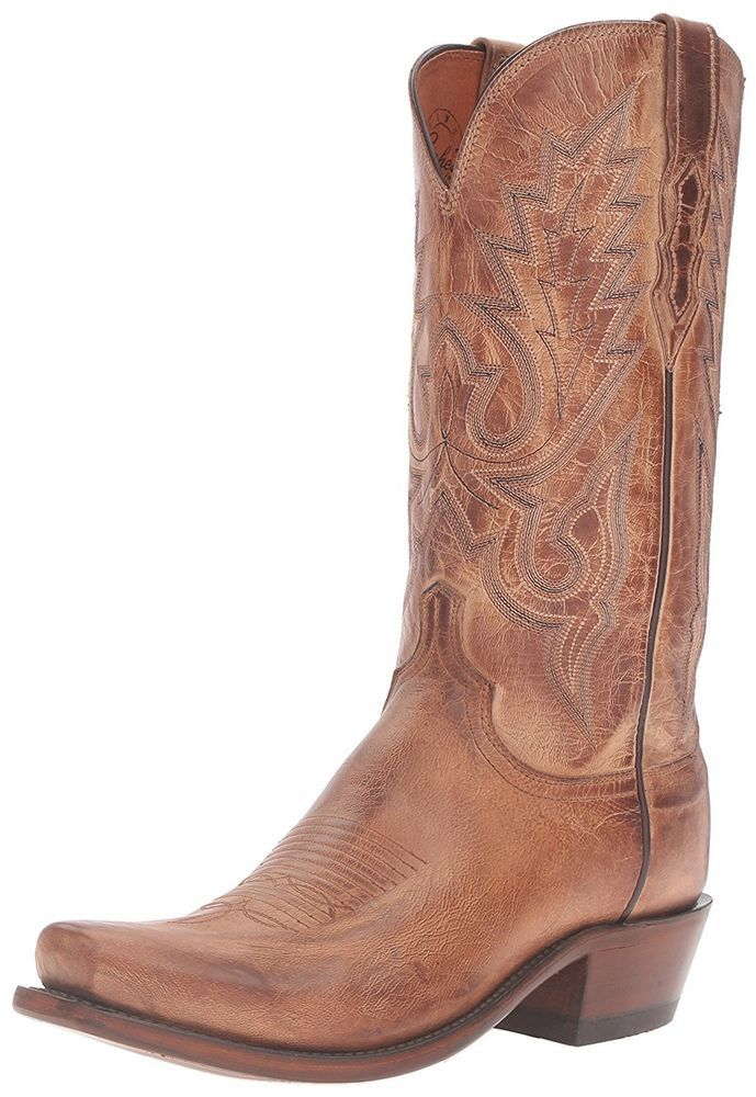 LUCCHESE M1008.54 LEWIS MENS TAN MAD DOG GOAT BOOTS Sz 11 D