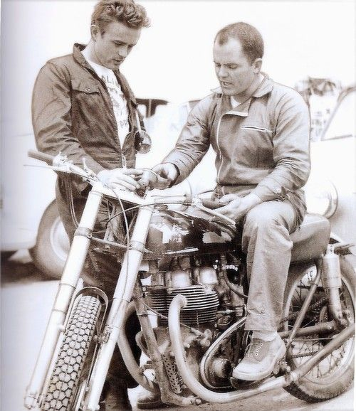 ❦ Dean and motorcycle ace Johnny McLaughlin in Bakersfield, Ca