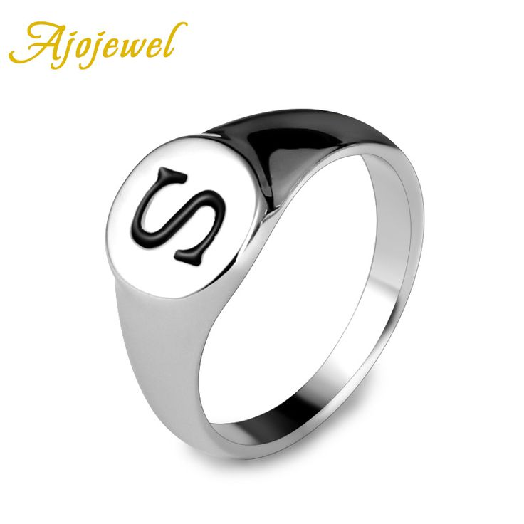 "Ajojewel Size 9-11 New Male Jewelry White Gold Plated Classic ""S"" Letter Rings For Men/Women"