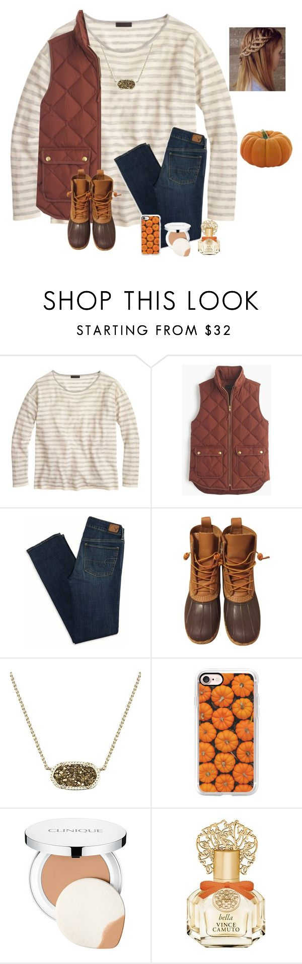 """""""Day 2: Pumpkin patch⚜️"""" by raquate1232 ❤ liked on Polyvore featuring J.Crew, American Eagle Outfitters, L.L.Bean, Kendra Scott, Casetify, Clinique, Vince Camuto and kennshalloweencontest"""