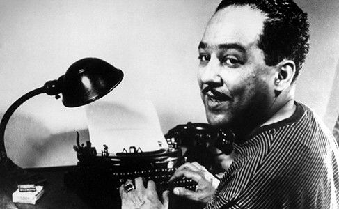 Langston Hughes Harlem Renaissance | Harlem Renaissance author Langston Hughes with his fingers on keys of ...