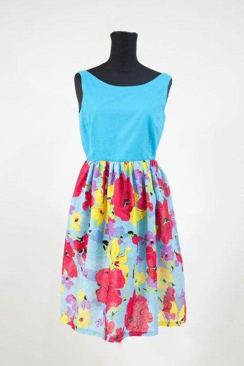 Abito floreale in cotone,vestito primaverile,corto abito,Easter dress,gonna floreale,sukienka na lato,Party Dress,vestiti e abiti di MAQUELLA su Etsy