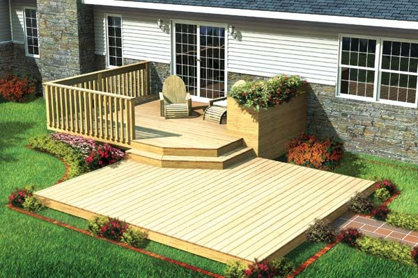 Split Level Patio #Deck w/ Planter - #ProjectPlan 90009 | Enjoy your favorite seasonal flowers and gourmet herbs up close, on this comfortable two-level deck with built-in planter.  12'x16' Upper Deck With Additional Step 3 Different Sizes for the Lower Deck 10'x12' 12'x14' 14'x16'