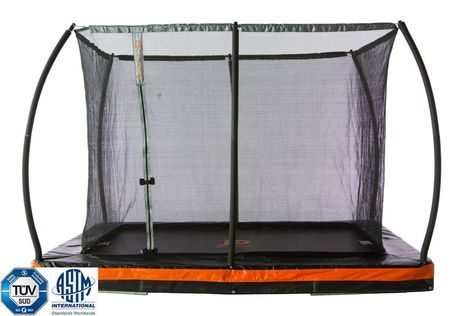 Jump Power Inground 10' x 7.5' Rectangle Trampoline with Patented Steel Flex Ring Safety Net Enclosure System Product Description: The Jump Power In-ground 10' x 7.5' Trampoline & Safety Enclosure Com