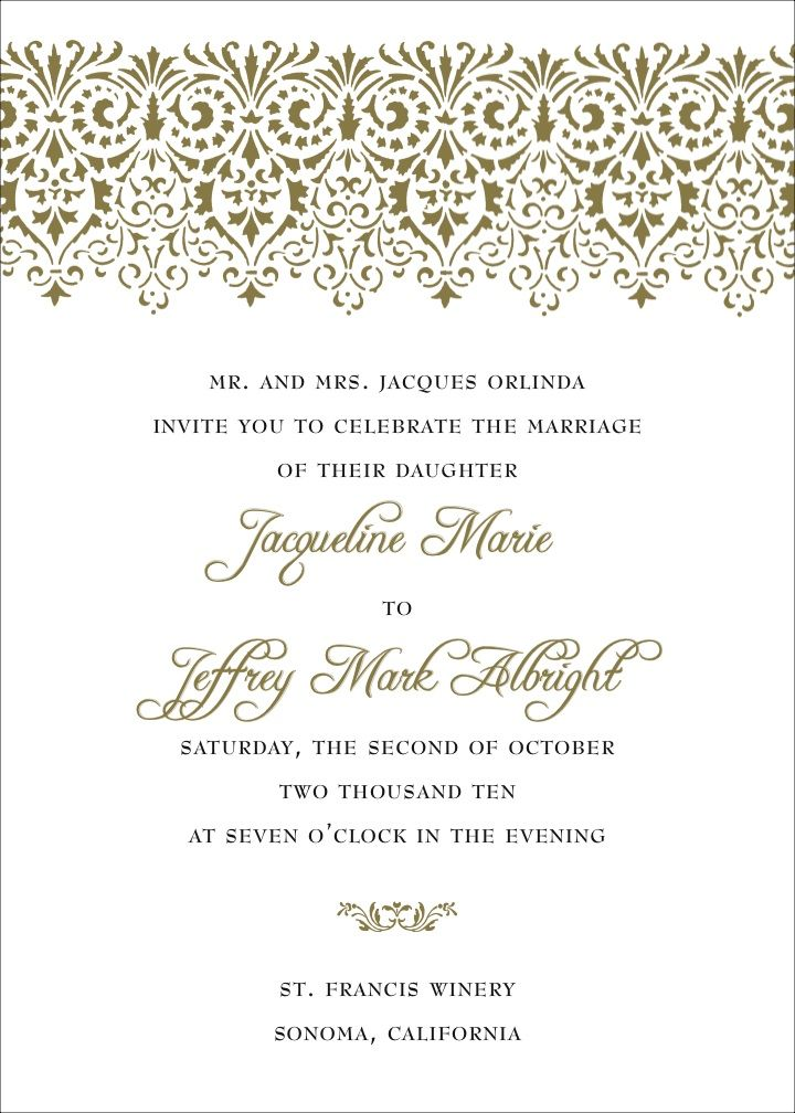 Wedding Invitations Formal Wording   PaperInvite