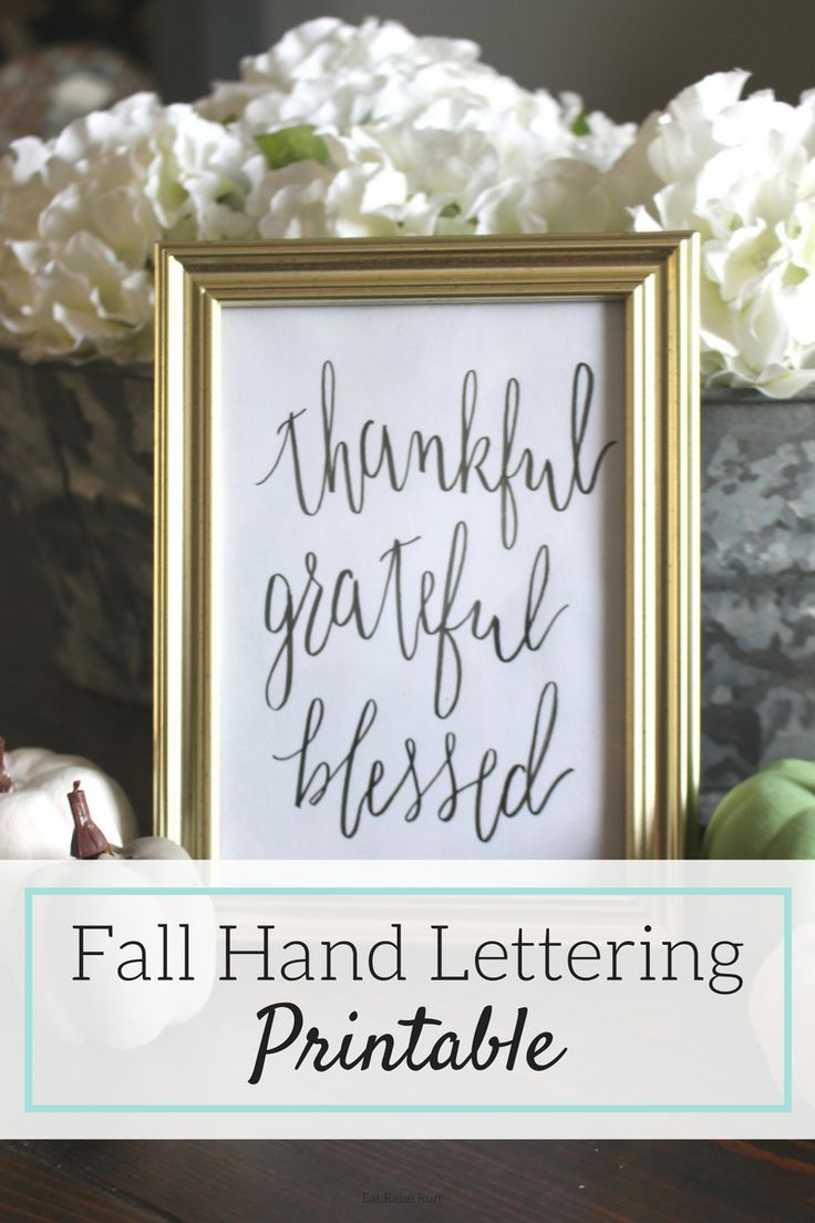 Free fall hand lettering printable, easy idea for home decor.