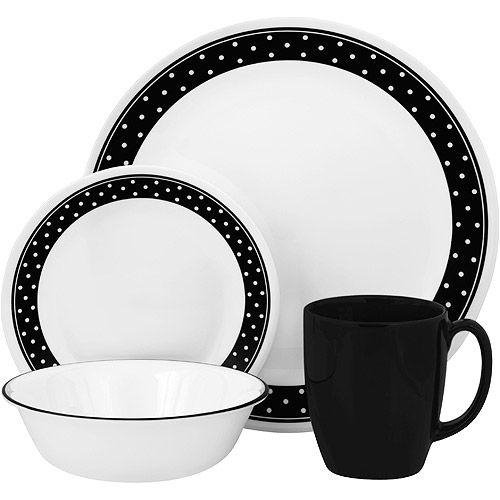 Corelle Livingware 16-Piece Dinnerware Set, Brilliant Black Dots. Winner? I think so, still just $30 and chip resistant!