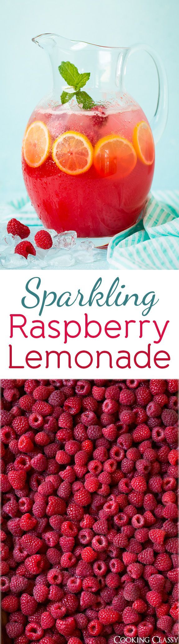 Sparkling Raspberry Lemonade - this is so vibrant and refreshing, I could drink this all summer long!