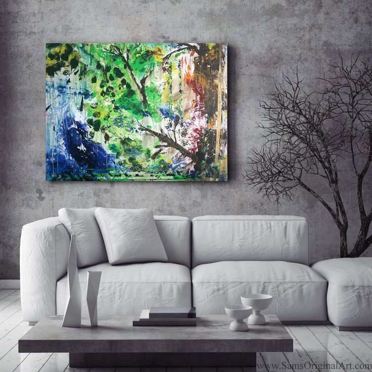 Growth: With its typical color scheme of greens, blues and yellows, 'Growth' is an example of the artist's abstract works that create a view of some hidden woods, and somehow manage to feel so 'real'.