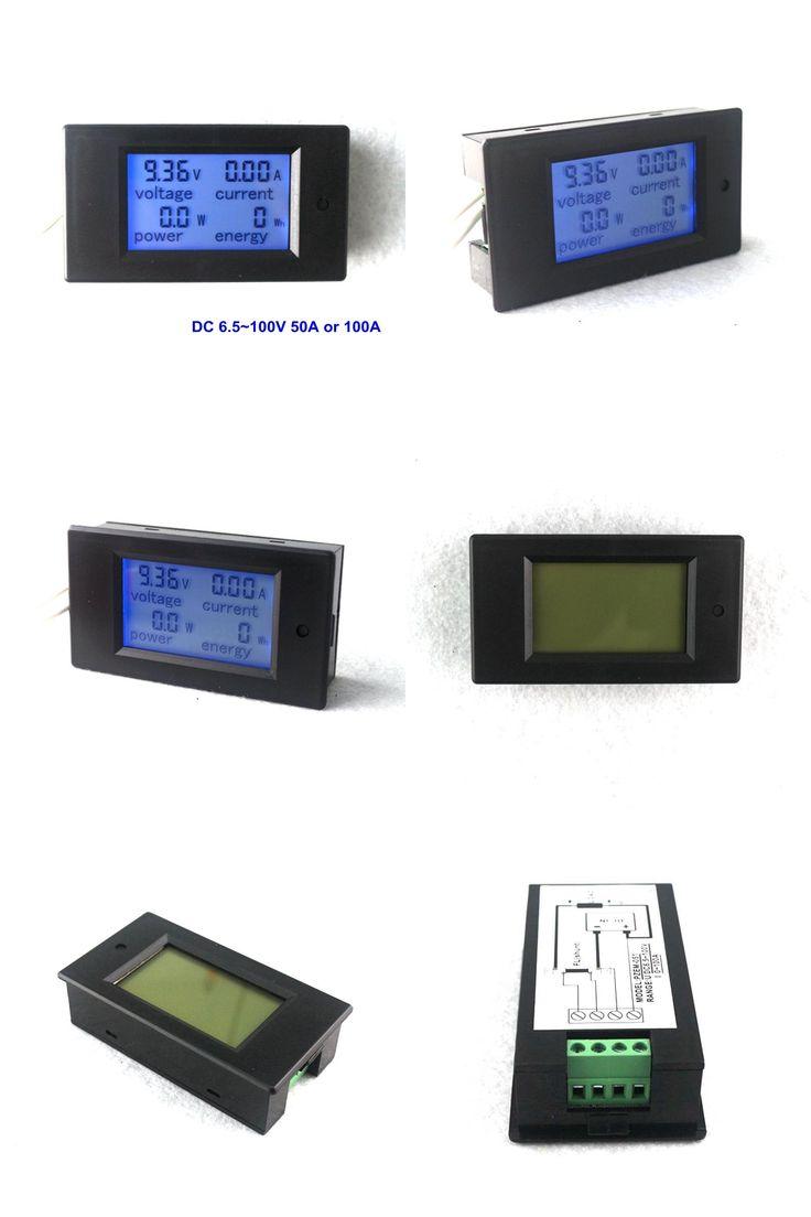 [Visit to Buy] 4 in 1 DC 6.5~100V DC Ammeter Voltmeter Digital Volt Ampere Power Energy Meter Amperimetro LCD Blue Backlight 50A 100A Optional #Advertisement