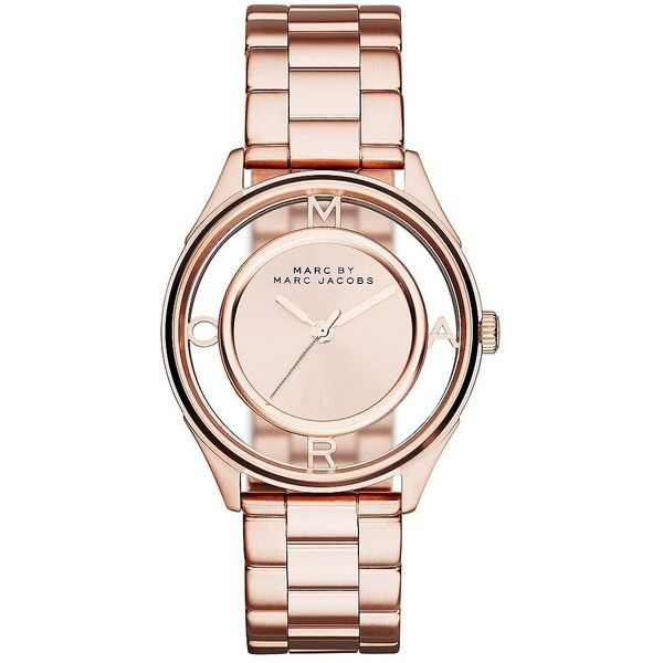 Marc By Marc Jacobs Tether Rose Goldtone Stainless Steel Bracelet... found on Polyvore featuring jewelry, watches, rose gold, stainless steel jewelry, rose bracelet, rose watches, skeleton bracelet and water resistant watches