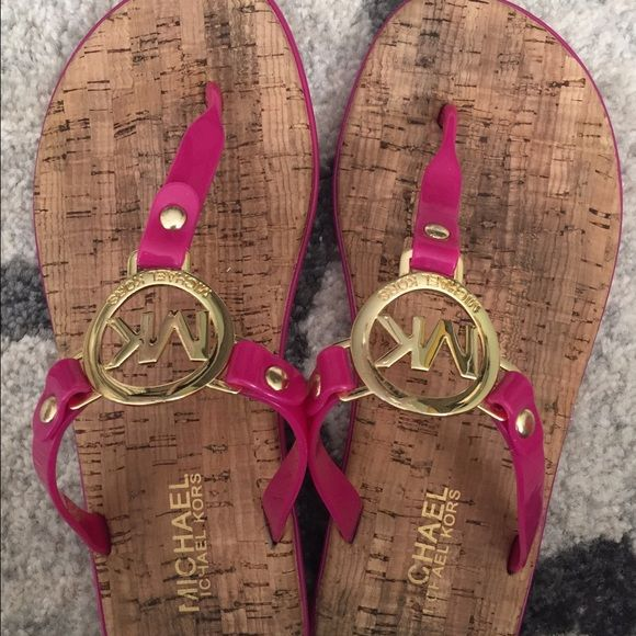 Michael Kors sandals Hot pink Michael Kors sandals with gold MK!  Gently worn, in great shape! Make an offer Michael Kors Shoes Sandals