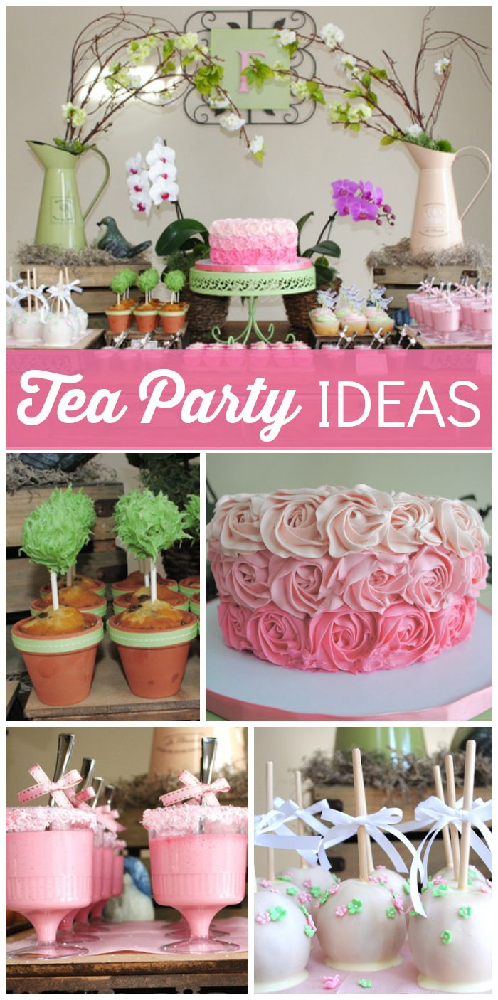 This beautiful tea party features cake pop topiaries, candy apples and a rosette cake! See more party ideas at CatchMyParty.com!