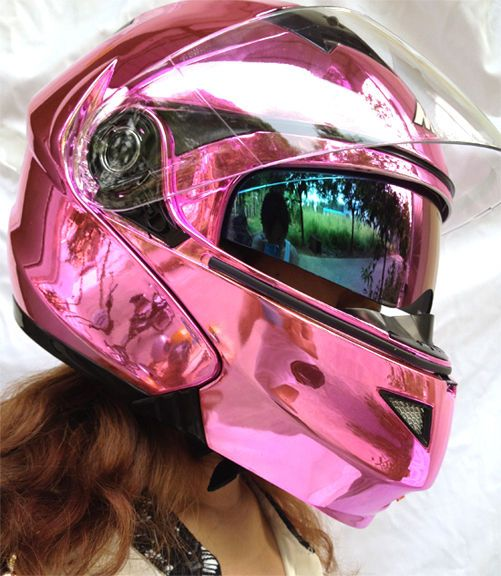 MASEI 815 DOT Motorcycle Helmet CHROME PINK size M L XL Like this.