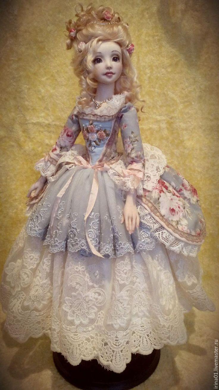 Купить Антуанетта - голубой, Будуарная кукла, авторская кукла, Антуанетта, рококо, ЛивингДолл, шерсть 100%