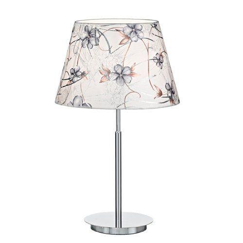 Lampada da tavolo Orchidea Montatura e base in metallo cromato. Paralumi in lamina di PVC rivestita in tessuto.