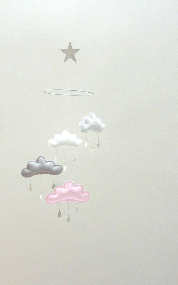 "Grey and light pink Nursery cloud mobile with star ""SUZY""  by The Butter Flying-Rain Cloud Mobile Nursery Children Decor"