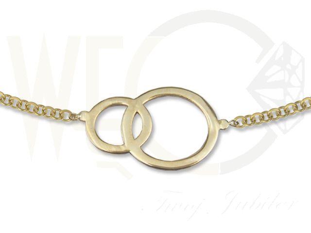 Naszyjnik ze złota - celebrytka z motywem obrączek./335 PLN/ Gold necklace - a celebrity with a wedding ring motif.