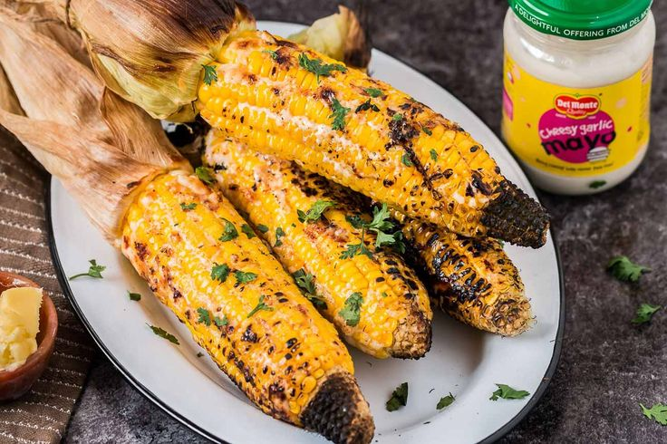 Mexican Grilled Corn Flavoured With Cheesy Garlic Mayo Recipe