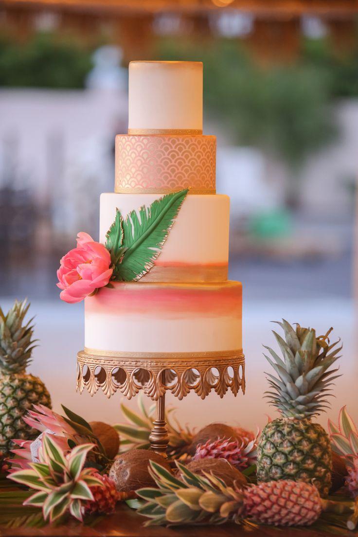 Pink and metallic gold tropical wedding cake | Tropical Florida wedding ideas and inspiration (Lifelong Photography Studio)