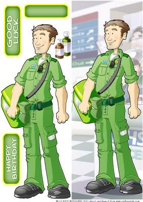 Paramedic Dude Large Vertical DL on Craftsuprint designed by Gordon Fraser - This good hearted Dude sets off on another shift. Easy to make DL version with decoupage, blank and sentiment tiles. More versions of this Dude are available. Don't forget to check out my other Dudes and designs. Just click on my name. Thanks for looking! - Now available for download!