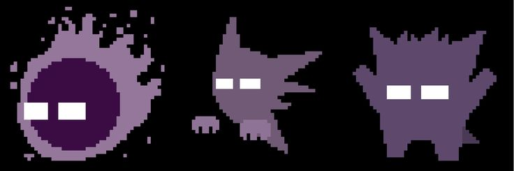 Made some simple pixel art of the gastly/haunter/gengar line
