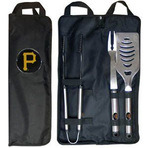 MLB Pittsburgh Pirates Stainless Steel BBQ Set with Bag by Siskiyou. $29.99. Our MLB stainless steel 3 pc BBQ tool set includes a large spatula with built in bottle opener, heavy duty tongs, and large fork. All the tools feature a team logo on the handle. The set comes with a durable canvas bag that has a chrome accented team logo.