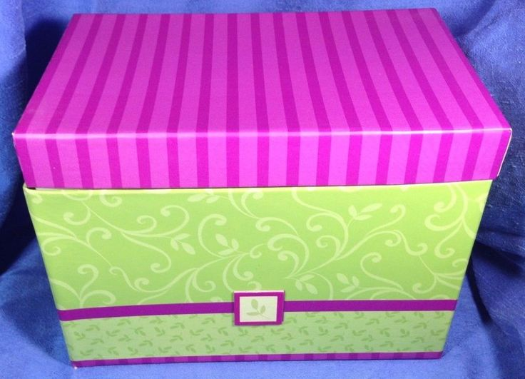 Contemporary Storage Box Green Pink Paper Large Recipe Coupon Greeting PMG, Inc. #PMGInc #Contemporary