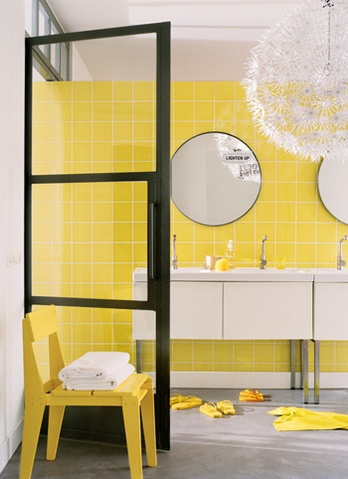 yellow bathroom + circular windows