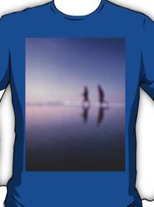 Children running on beach square color analogue medium format film still life Hasselblad  photo T-Shirt