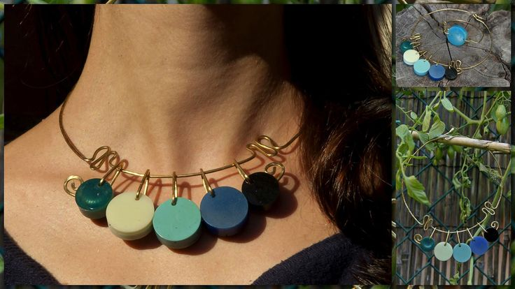 Collier in ottone con bottoni non rifiniti. Designed by LeFil