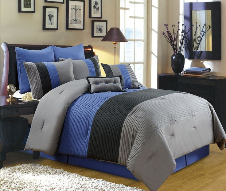 8 Piece Luxury Bedding Regatta Comforter Set Navy Blue