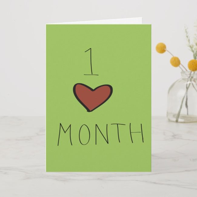 One Month Anniversary Card Zazzle Com In 2021 One Month Anniversary Anniversary Cards Happy Birthday Cards