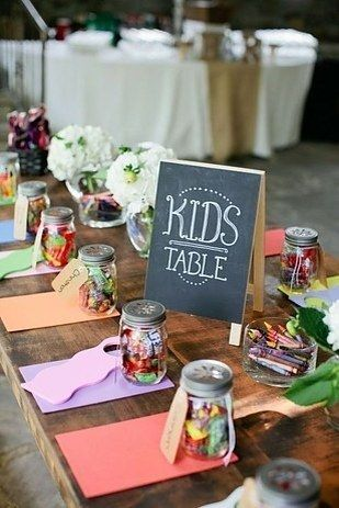 "Have a ""kids' table"" and stock it with crayons… lots of crayons. Here are some ways to keep guests entertained at #MammothWeddings"