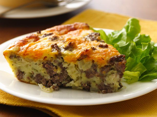 Cheeseburger Pie ~ Gluten Free    1 lb lean (at least 80%) ground beef 1 medium onion, chopped 1/2 teaspoon salt 1/8 teaspoon pepper 1 cup shredded Cheddar cheese (4 oz) 1/2 cup Bisquick® Gluten Free mix 1 cup milk 3 eggs