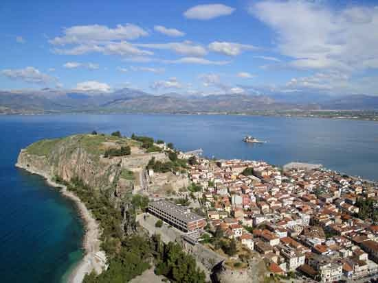 One of the best views along the climb to Palamidi Fortress in Nafplio.  Taken from step 842 (from the bottom), only 71 steps below the gate leading to the main site and approximately 100 steps below the top of the fortress.