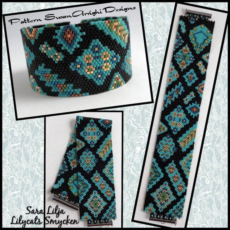 #armband #smycken #pärlor #delicabeads #peyotestitch #handgjordasmycken #handgjort #bracelets #bracelet #jewelry #handmade #beads #miyukibeads #miyuki #seedbeads Pattern SusanArrighiDesigns