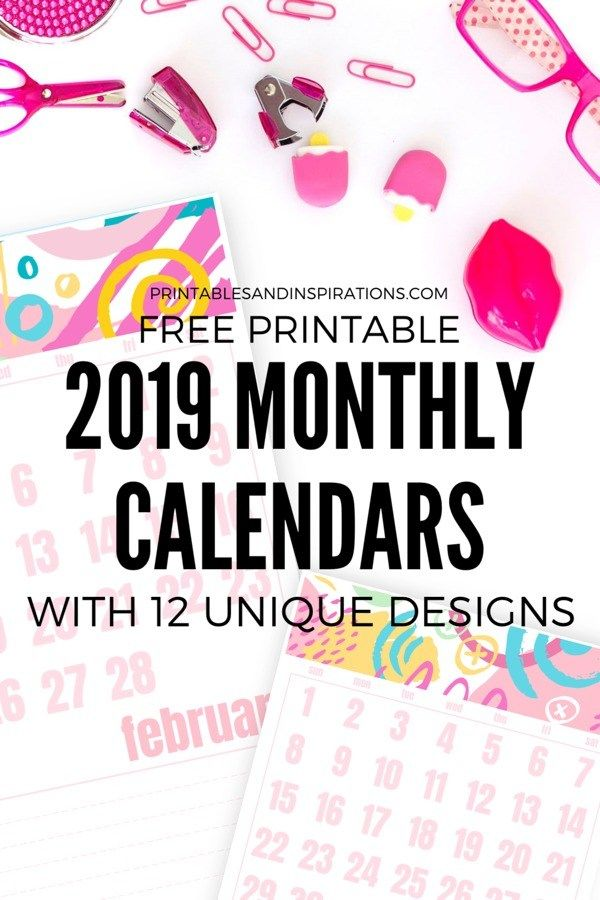 2019 Monthly Calendars With 12 Designs Planner  Bullet Journal