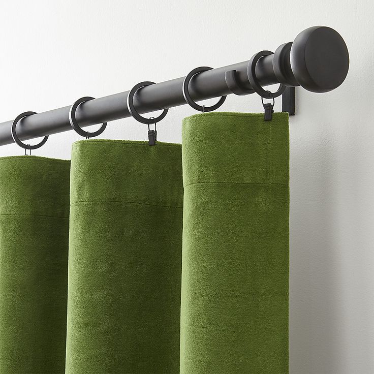 Shop Green Velvet Curtains.  Luxurious green velvet curtain panels frame windows in a lush, plush neutral.  Made of 100% cotton velvet, the panels are lined in cotton and have generous three-inch top and bottom hems.   also available.
