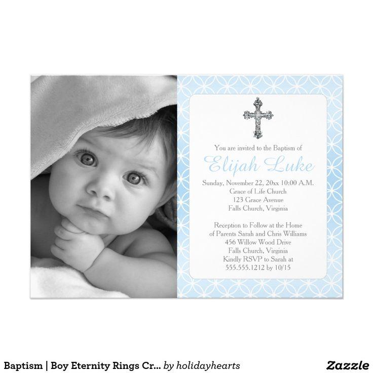 free online christening invitation making%0A Baptism   Boy Eternity Rings Crosses Photo  x  Paper Invitation Card