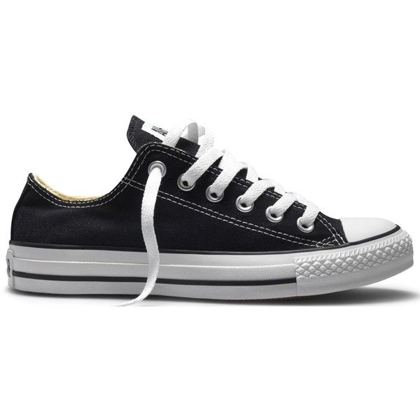 Converse Ox Black ❤ liked on Polyvore featuring shoes, chucks, converse, kohl shoes, black shoes, converse shoes and converse footwear